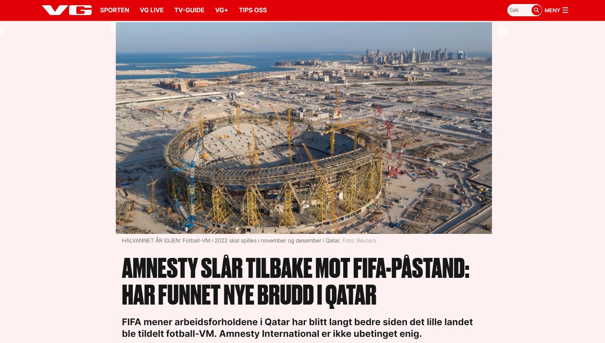 VG -Amnesty slår tilbake mot FIFA-påstand