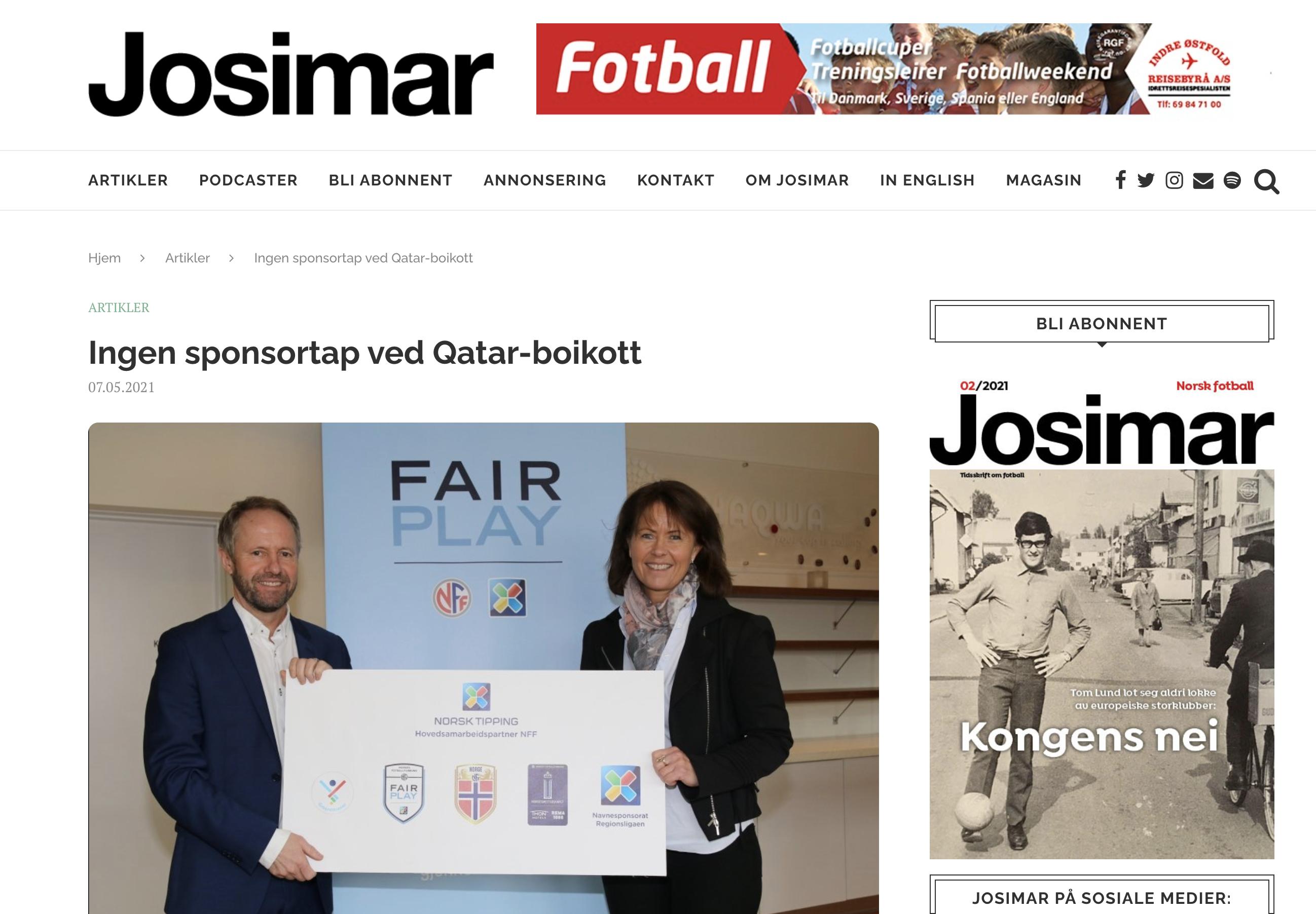 Ingen sponsortap ved Qatar-boikott