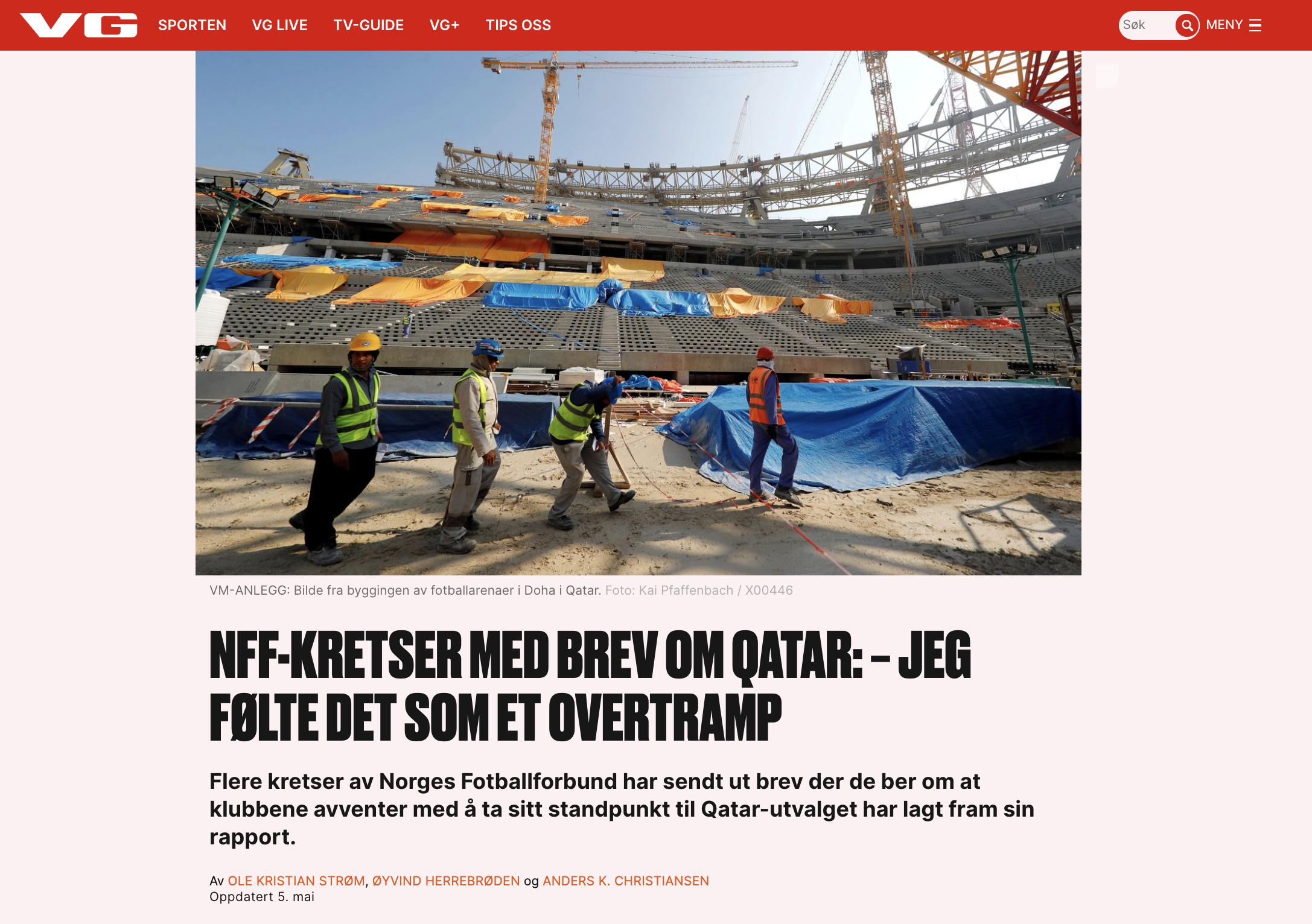 NFF-kretser med brev om Qatar: − Jeg følte det som et overtramp